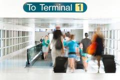 Airport Terminal Interior. Travelers Walking in Airport Terminal Interior stock photography