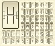 Airport terminal mechanical scoreboard narrow alphabet with numbers for showing flight departure or arrival information. Airport flip board mechanical light vector illustration