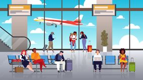 Airport terminal. People travel tourist with luggage control hall departure airport passengers transit takeoff plane vector illustration