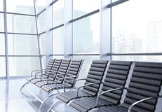Airport terminal seats. Closeup of seats in airport interior with Singapore city view. 3D Rendering Royalty Free Stock Photography