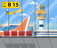 Airport terminal with seats, plane, control tower Stock Images