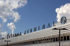 Airport terminal sign. Sign over exterior entrance at Terminal 5, Arlanda Airport, Stockholm Royalty Free Stock Photos