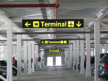 Airport terminal sign. Terminal signs at the airport's parking Royalty Free Stock Image