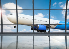 Airport terminal with window glasses. 3d rendering airport terminal interior with window glasses Royalty Free Stock Photo