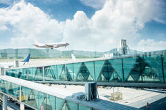 Airport terminal window scene Royalty Free Stock Photography
