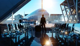 Airport terminal. Wonderfull sunset. Business and travel concept. 3d rendering. Airport terminal. Wonderfull sunset. Business and travel concept. 3d rendering Royalty Free Stock Image