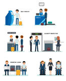 Airport terminals set with charts and other elements. royalty free illustration