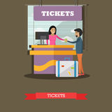 Airport ticket counter concept vector illustration, flat design. Royalty Free Stock Photos
