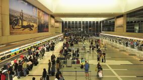 Airport ticket line stock video footage
