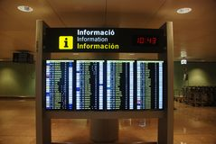 Airport timetable Board. In Barcelona airport Royalty Free Stock Photo