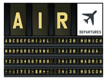 Airport timetable letters. Vector mechanical alphabet for airport timetable vector illustration