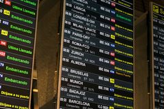 Airport timetable in spanish royalty free stock image