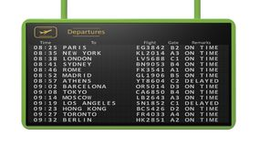 Airport timetable on white background.Isolated. 3D rendering of airport timetable of international flights Royalty Free Stock Images