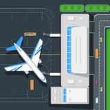 Airport Top View Vector Concept in Flat Design Stock Photos