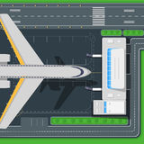 Airport Top View Vector Concept in Flat Design Stock Images
