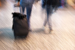 Airport tourists in movement Royalty Free Stock Images