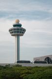 Airport tower. Airport tower in Singapore. Have access to sky train travel Royalty Free Stock Images