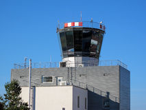 Airport tower. Airport control tower with clear blue sky Royalty Free Stock Photos