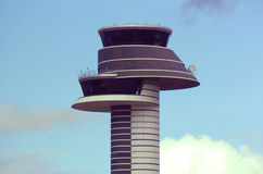 Airport tower. In stockholm on sky and cloud background stock images