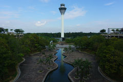 Airport Tower. Landscape view of airport control tower Stock Photos