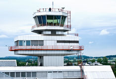 Airport Tower of Linz. Capital city of Upper Austria Stock Photos