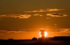 Airport Tower Sunset Stock Photography