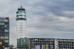 Airport tower in Vienna Austria with overcast sky. Airport tower in Vienna Austria with overcast sky stock image