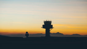 Airport traffic controller tower. View of air traffic control tower at cape town international airport in evening Royalty Free Stock Photo