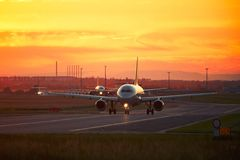 Airport traffic at the sunset Stock Photo