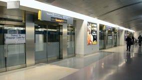 Airport train, McCarran international airport, Las Vegas, USA,. LAS VEGAS NV - APRIL 02: McCarran international airport interior on April 02, 2014 in Las Vegas stock video