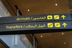 Airport transfer / arrival sign Royalty Free Stock Image