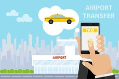 Airport transfer. Banner transfer to the airport. The man calls a taxi to the airport via the phone. Flat design, vector illustration, vector royalty free illustration