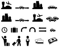 Airport transfer icon set Royalty Free Stock Images