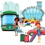Airport transfer, public transport like car and bus, happy family mother with kids kepp his luggage for transportation. Taxi waiting for passengers vector vector illustration