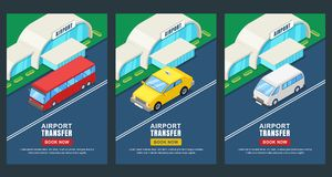 Airport transfer, vector isometric 3D illustration. Banner, poster, flyer layout. Taxi or shuttle bus travel service vector illustration