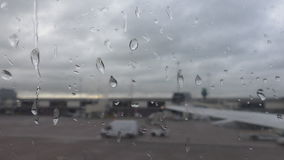 Airport transport on a rainy day stock video