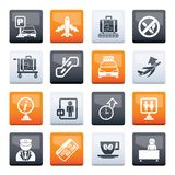 Airport and transportation icons over color background royalty free stock photos