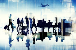Airport Travel Business People Terminal Corporate Flight Concept.  Royalty Free Stock Photo