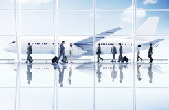 Airport Travel Business Trip Transportation Airplane Concept. Airport Travel Business People Trip Transportation Airplane Concept stock image