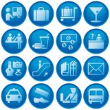 Airport / Travel Icons. Blue Button Airport and Travel Icons Royalty Free Stock Photos