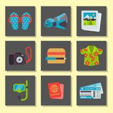 Airport travel icons flat tourism suitcase passport luggage plane transportation vector illustration. Airport travel icons flat vector illustration. Tourism Royalty Free Stock Image