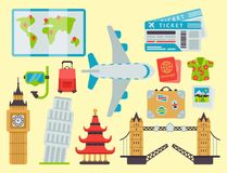 Airport travel icons flat tourism suitcase passport luggage plane transportation vector illustration. Airport travel icons flat vector illustration. Tourism Royalty Free Stock Photography