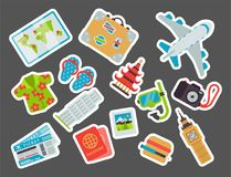 Airport travel icons flat tourism suitcase passport luggage plane transportation vector illustration. Airport travel icons flat vector illustration. Tourism Stock Photography