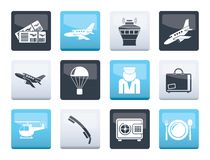 Airport and travel icons over color background. Vector icon set royalty free illustration