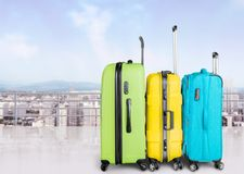 Airport travel. Plastic business loading handle train recreation Royalty Free Stock Photography