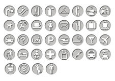 Airport Travel Signage. Graphic icons for airport and travel in embossed circle Stock Photos
