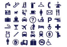 Airport Travel Signage Icons. Graphic icons for airport and travel Stock Photography