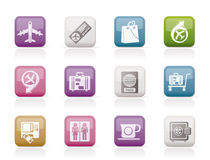 Airport, travel and transportation icons 1 vector illustration