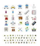 Airport, travel and transportation icons vector illustration