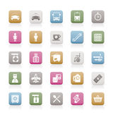 Airport, travel and transportation icons stock illustration